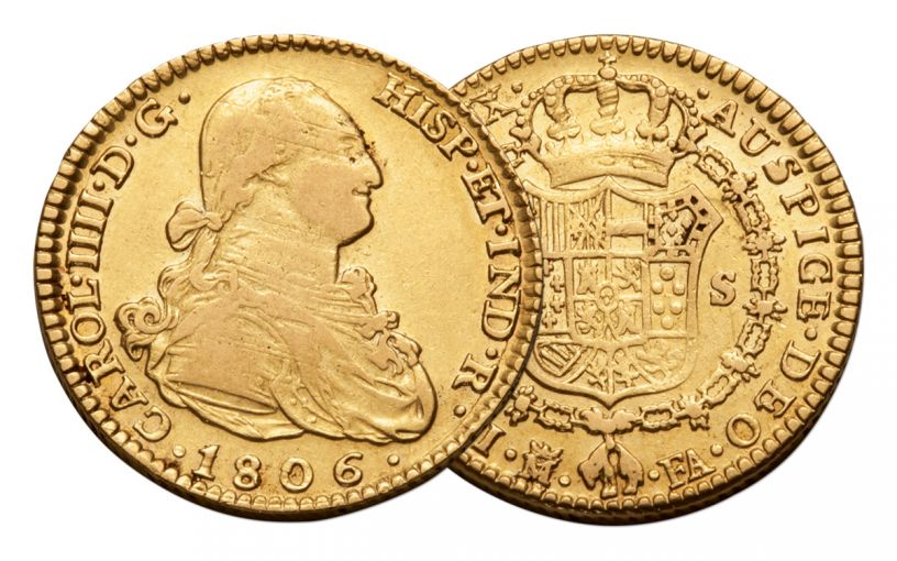1772-1833 Spain Gold 2 Escudo VF