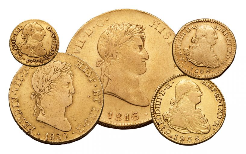 1742-1833 Spain Gold Escudo VF 5-Pc Set