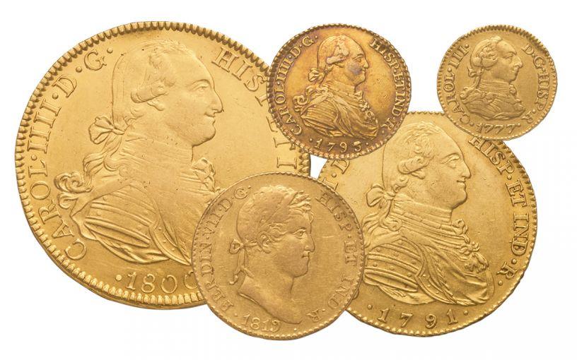 1742-1833 Spain Gold Escudo NGC AU 5-Pc Set
