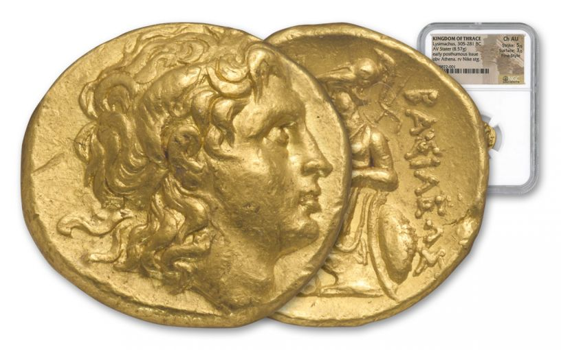Ancient Lysimachus Gold Stater Pella NGC CH AU