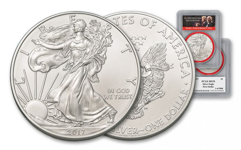 2017 1 Dollar 1-oz Silver Eagle PCGS MS70 First Strike Trump Pence Label - Red