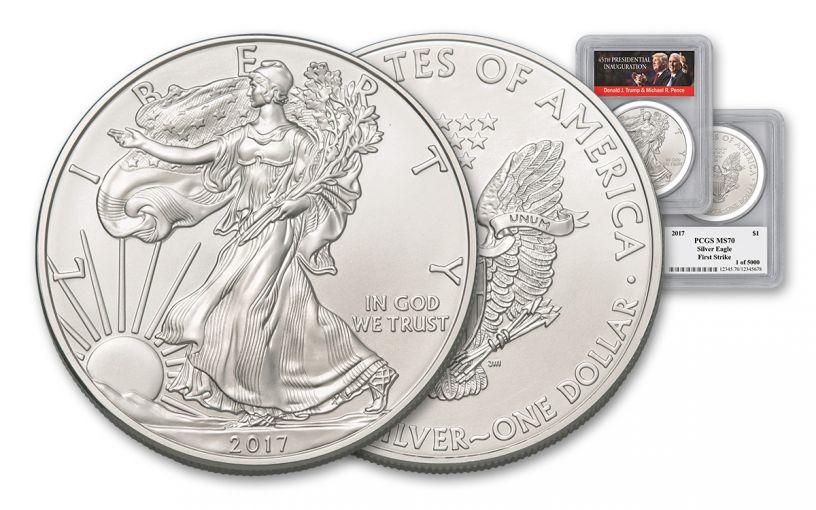 2017 1 Dollar 1-oz Silver Eagle PCGS MS70 First Strike Trump Pence Label