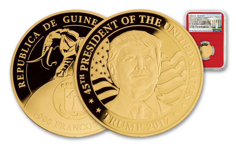 2017 1/10-oz Gold Donald Trump Inaugural Proof NGC PF70