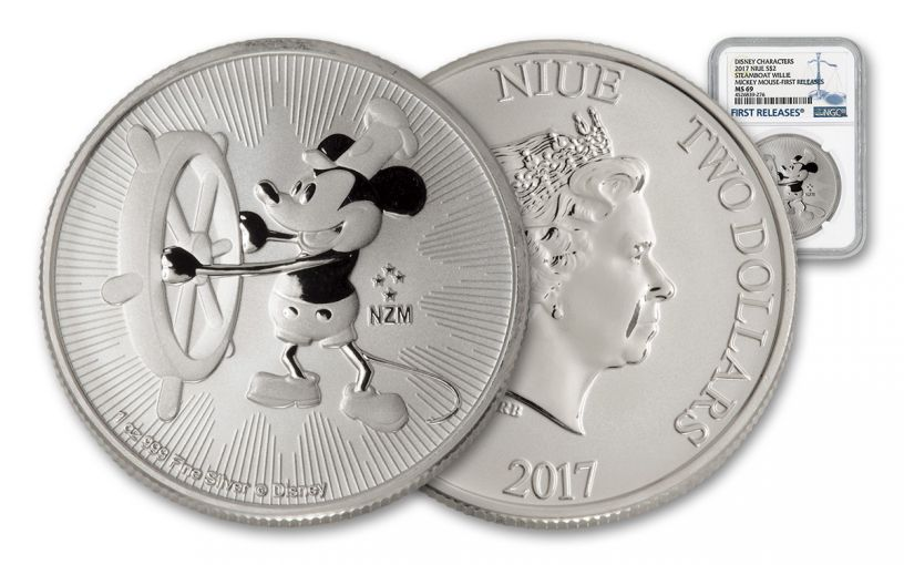 2017 Niue 2 Dollar 1-oz Silver Mickey Steamboat Willie NGC MS69 First Releases