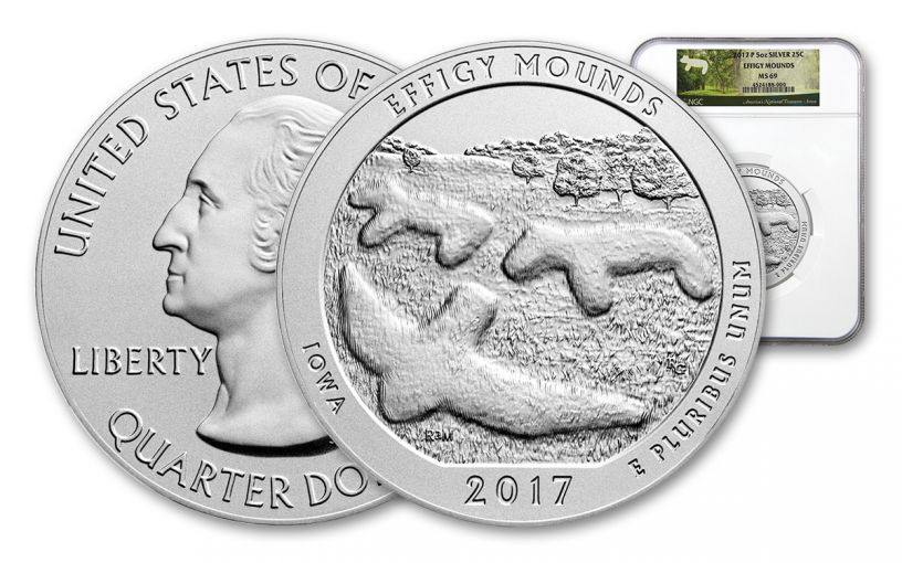 2017 25 Cent 5-oz Silver America the Beautiful Effigy Mounds NGC MS69