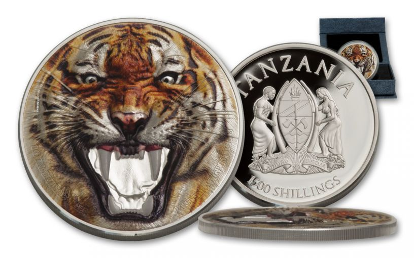 2017 Tanzania 1500 Shilling 2-oz Silver Royal Bengal Tiger Proof