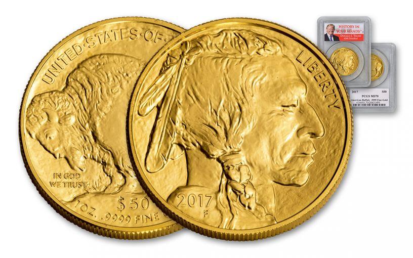 2017 50 Dollar 1-oz Gold Buffalo PCGS MS70 Trump Label