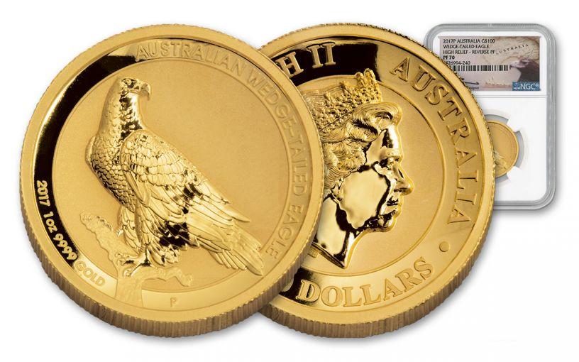 2017 Australia 1-oz Gold Wedge Eagle Mercanti Rev NGC PF70