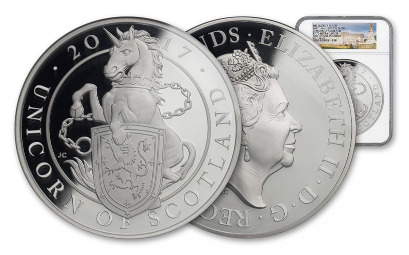 2017 Great Britain Kilo Silver Queen's Unicorn NGC PF70 UC FS