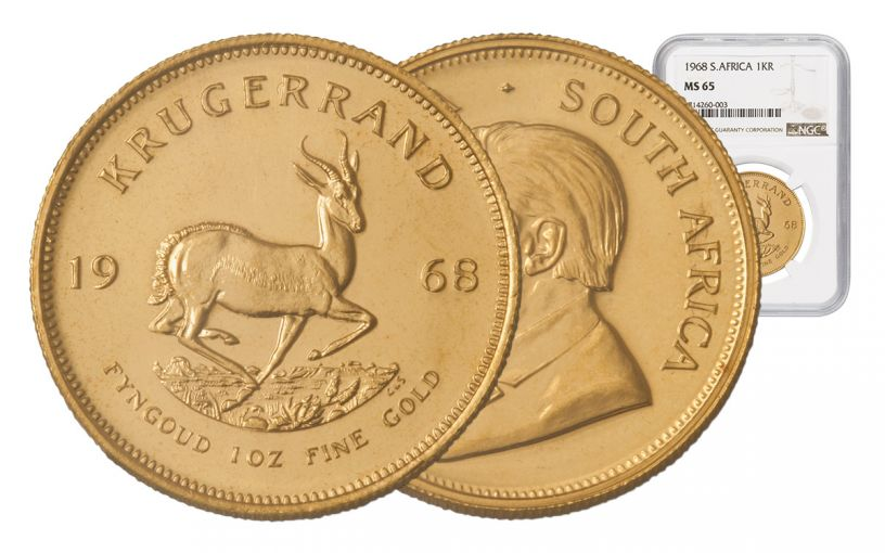 1968 South Africa 1-oz Gold Krugerrand NGC MS65
