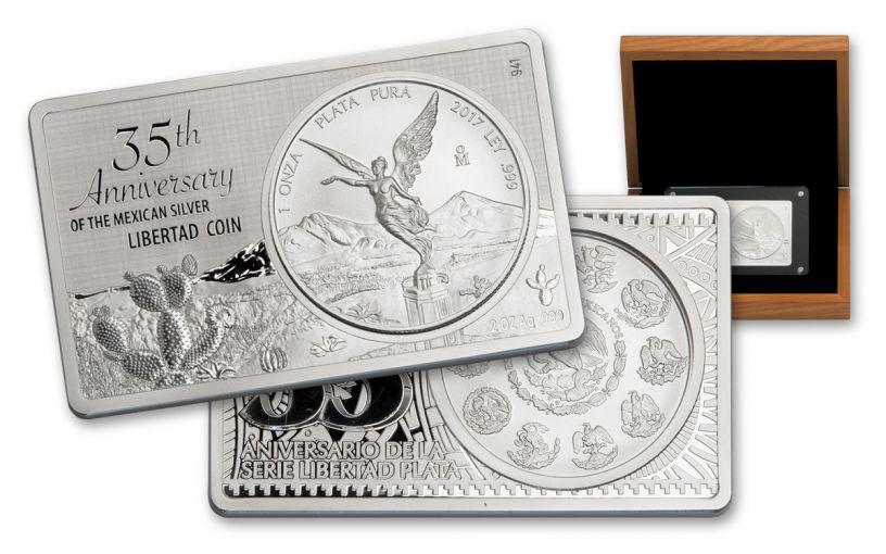 2017 Mexico 3-oz Silver Libertad Coin Bar- 35th Anniversary