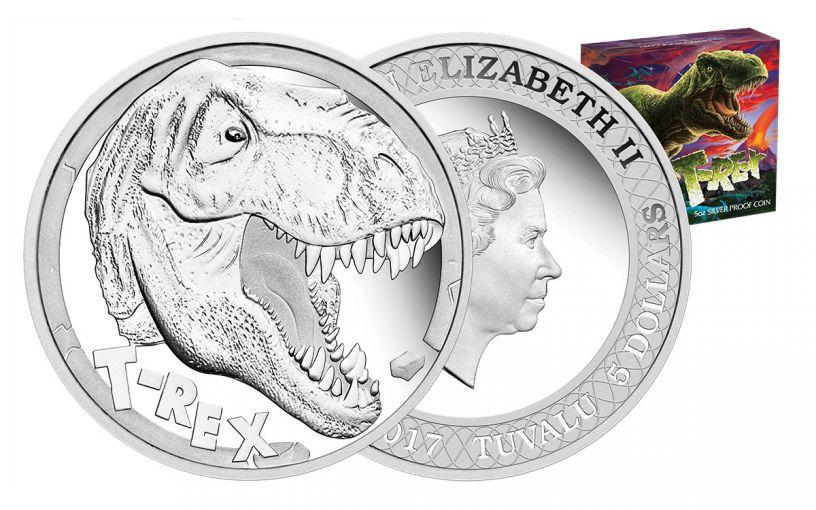 2017 Tuvalu 5 Dollar 5-oz Silver Tyrannosaurus Rex Proof