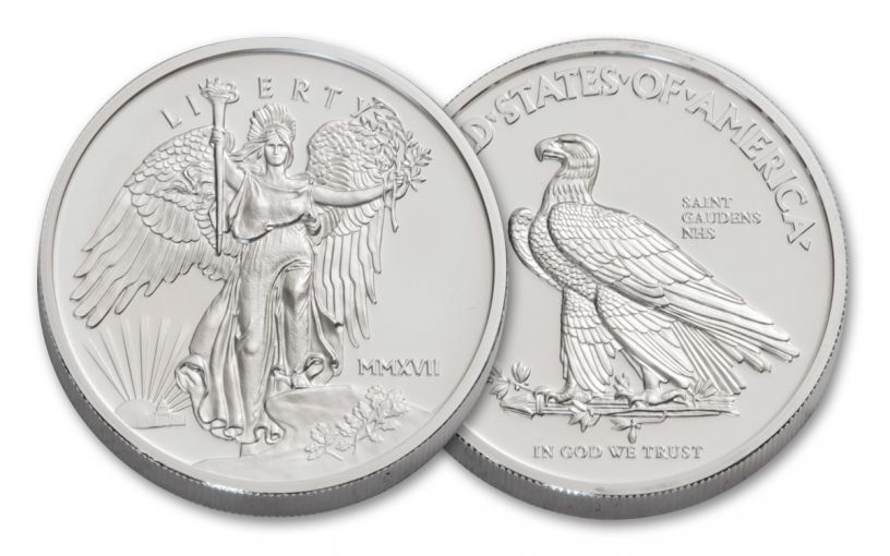 2017 1-oz Silver Saint Gauden's Winged Liberty BU