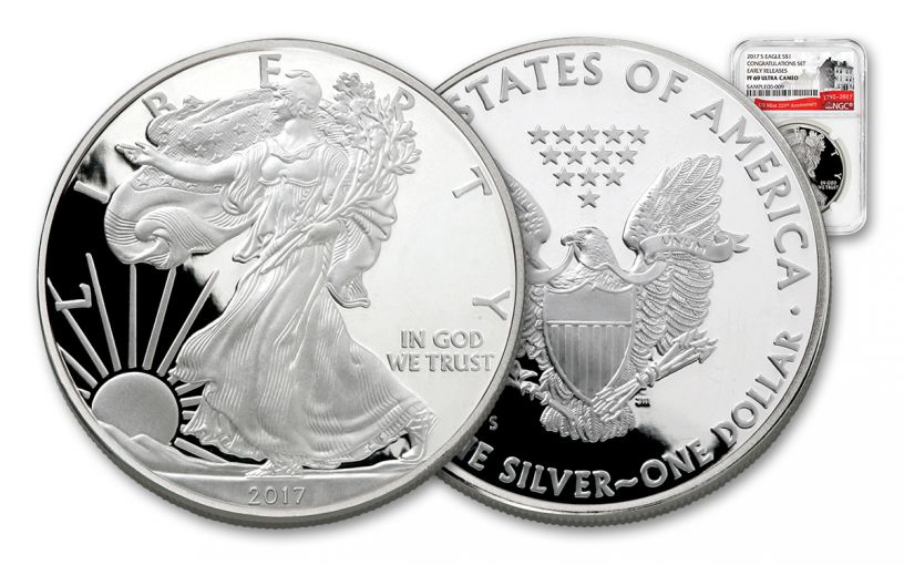2017-S 1 Dollar 1-oz Silver Eagle Proof NGC PF69UCAM Early Release 225th Anniversary