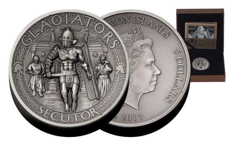 2017 Solomon Islands 5 Dollar 2-oz Silver Gladiators Secutor High Relief Antique