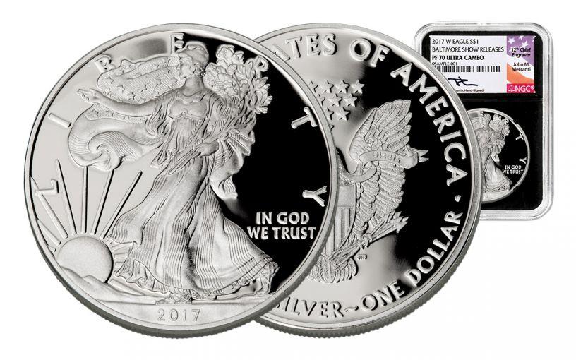 2017-W 1 Dollar 1-oz Silver Eagle NGC PF70UCAM Baltimore Show Releases Mercanti - Black