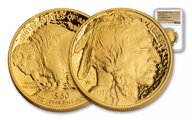 2017-W 50 Dollar 1-oz Gold Buffalo Proof NGC PF70UCAM First Releases Gold Foil Label