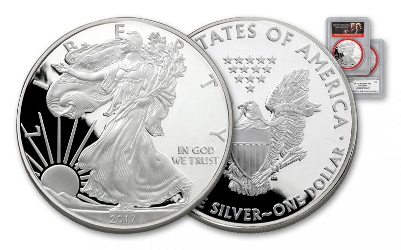 2017-S 1 Dollar 1-oz Silver Eagle Proof PCGS PR70DCAM FDI Trump Pence - Red