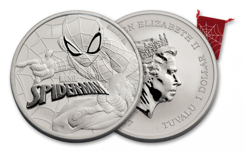2017 Tuvalu 1 Dollar 1-oz Silver Spiderman Brilliant Uncirculated