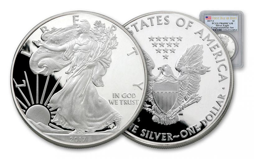 2017-S 1 Dollar 1-oz Silver Eagle Proof PCGS PR69DCAM FDI Flag Label
