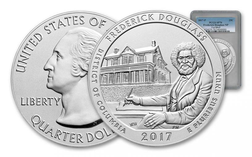 2017-P 25 Cent 5-oz Silver America the Beautiful Frederick Douglass PCGS SP70