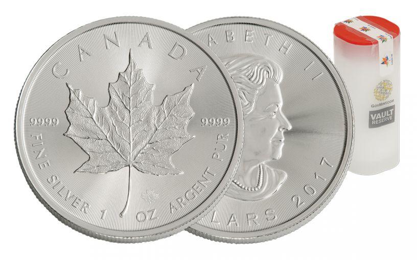 2017 5 Dollar 1-oz Silver Maple Leaf BU 25-Coin Roll - Vault Reserve