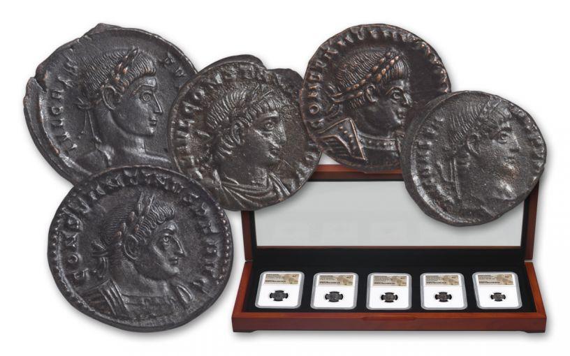 307-361 AD Roman Bronze Constantine 5-Coin Set NGC AU
