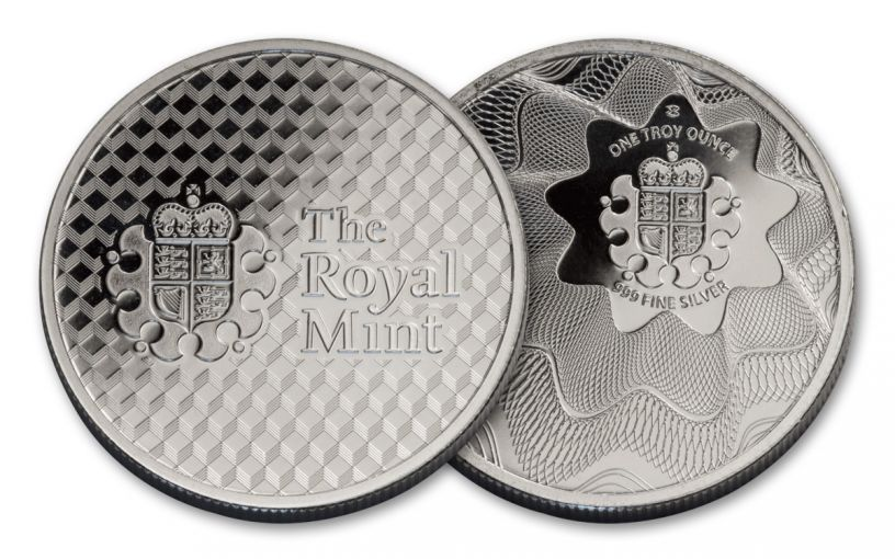 British Royal Mint 1-oz Silver Royal Mint Offset Shield Round