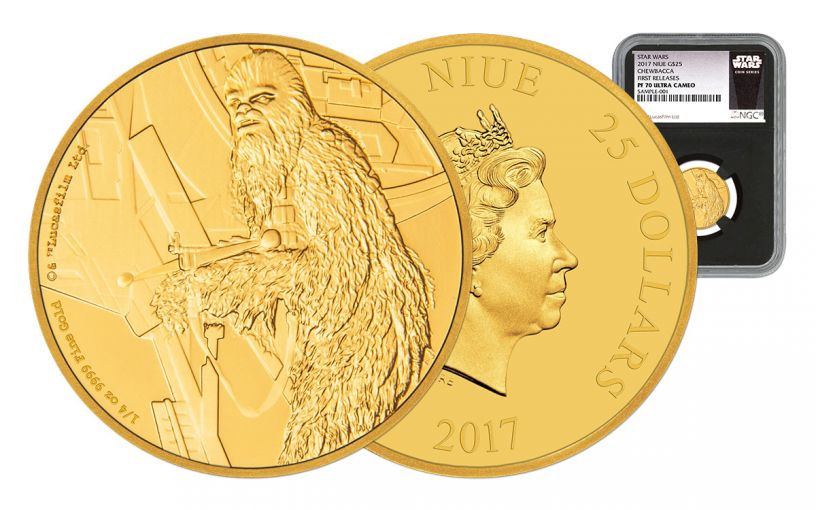 2017 Niue 25 Dollar 1/4-oz Gold Star Wars Chewbacca NGC PF70UC First Releases