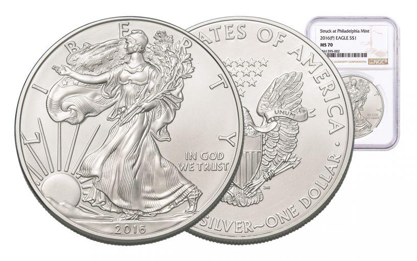 2016-P 1 Dollar 1-oz Silver Eagle NGC MS70 Brown Label