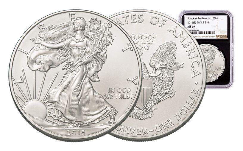 2016-S 1 Dollar 1-oz Silver Eagle NGC MS69 Brown Label - Black