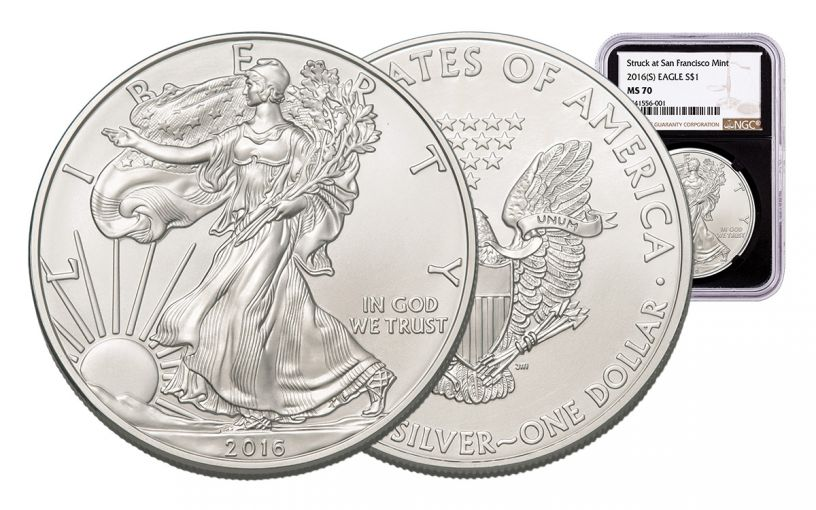 2016-S 1 Dollar 1-oz Silver Eagle NGC MS70 Brown Label - Black