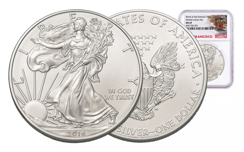 2016-S 1 Dollar 1-oz Silver Eagle NGC MS69 Trolley Label