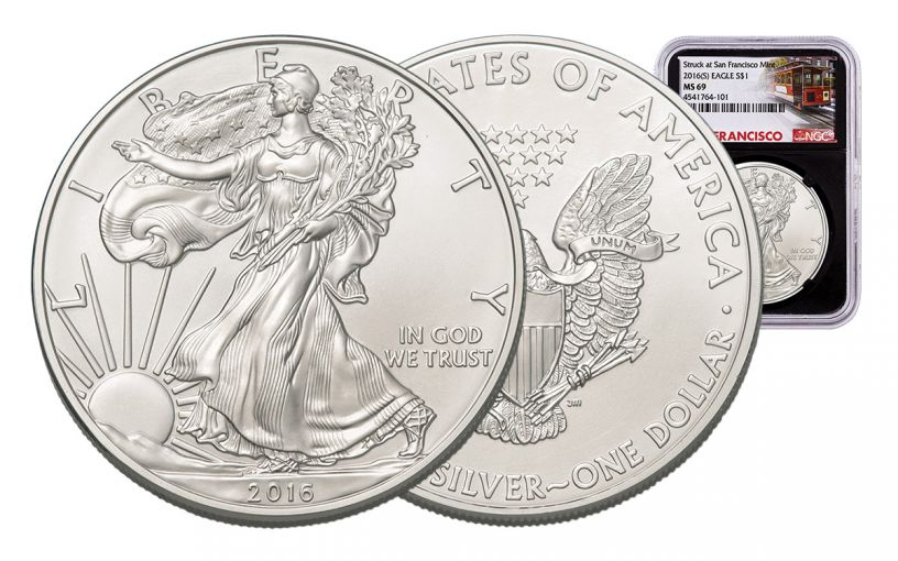 2016-S 1 Dollar 1-oz Silver Eagle NGC MS69 Trolley Label - Black
