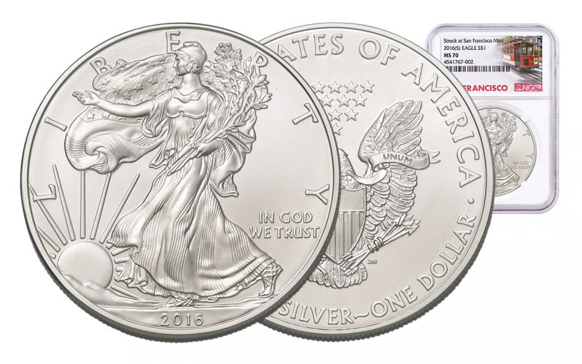 2016-S 1 Dollar 1-oz Silver Eagle NGC MS70 Trolley Label