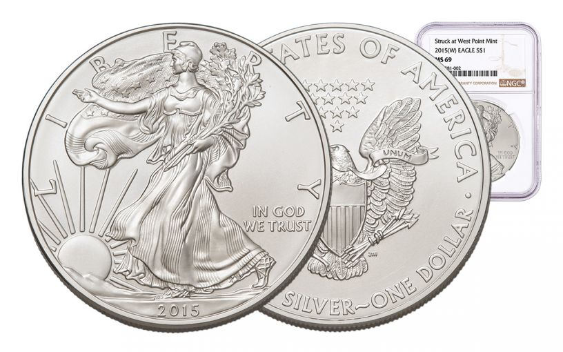 2015-W 1 Dollar 1-oz Silver Eagle NGC MS69 Brown Label