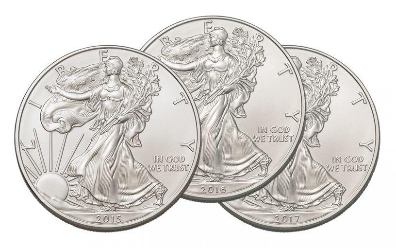 2015-2017-P,S,W 1 Dollar 1-oz Silver Eagle NGC MS70 Brown Label 7-Pc Set