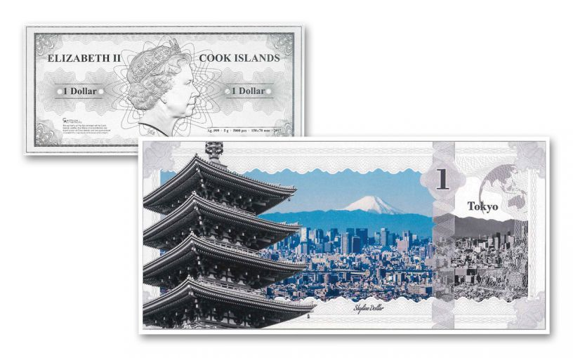 Cook Island 1 Dollar Silver Tokyo Skyline Dollar Proof-Like