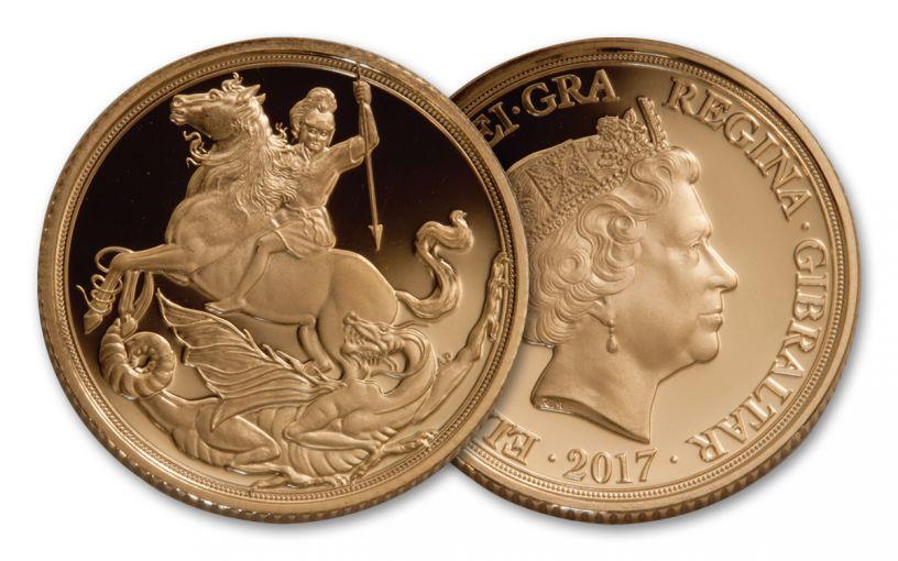 2017 Gibraltar 1/4-oz Gold Sovereign Proof
