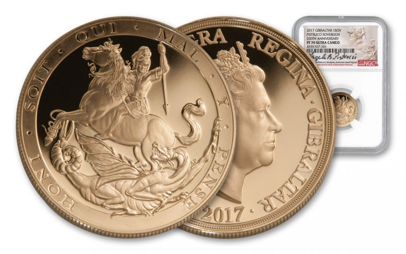 2017 Gibraltar Gold Sovereign NGC PF70UCAM Pistrucci