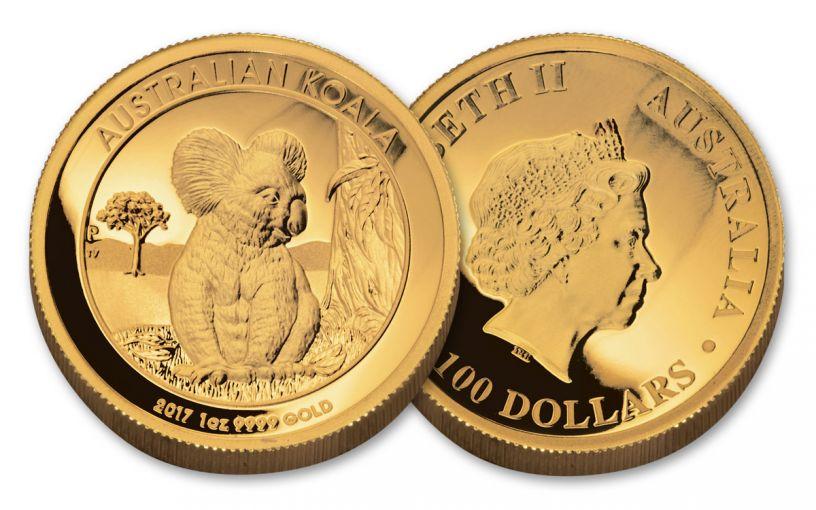 2017 Australia 100 Dollar 1-oz Gold Koala High Relief Proof