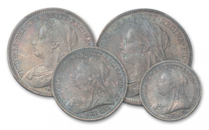 1900 Great Britain Silver Queen Victoria Maundy Set PCGS MS66 PL