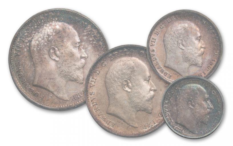 1907 Great Britain Silver King Edward VII Maundy Set PCGS PL67 4pc