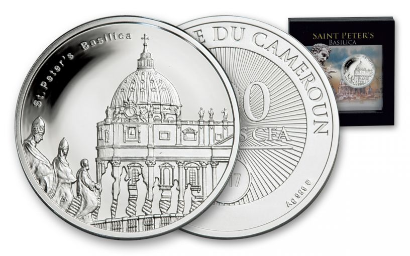 2017 Republic of Cameroon 10-g Silver St. Peter's Basilica Proof