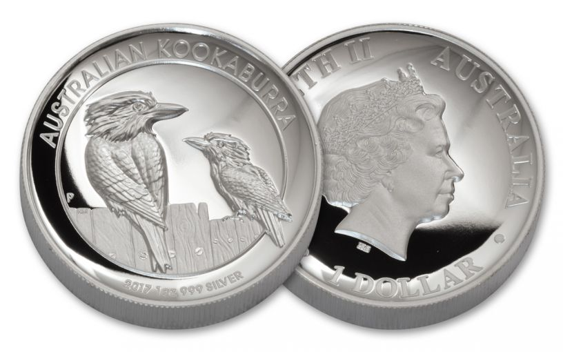 2017 Australia 1 Dollar 1-oz Silver Kookaburra Proof- High Relief