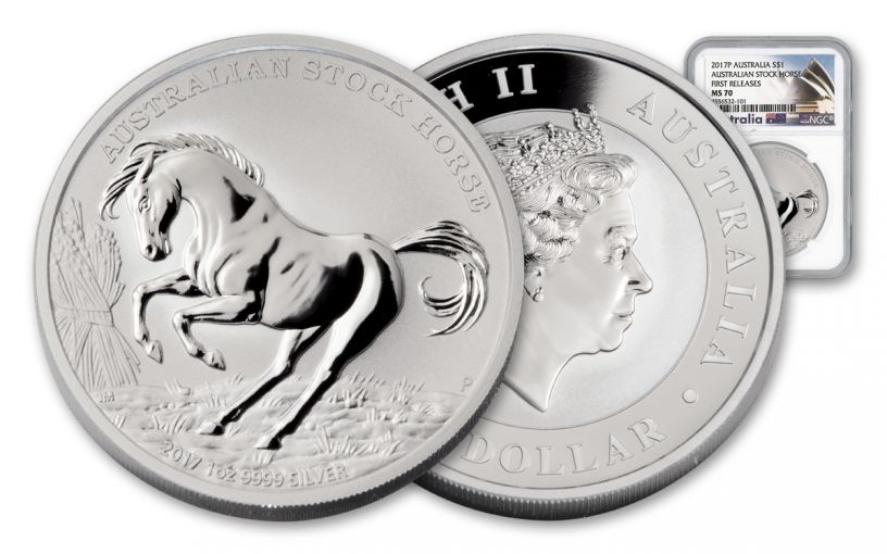 2017 Australia 1 Dollar 1-oz Silver Stock Horse NGC MS70 First Releases