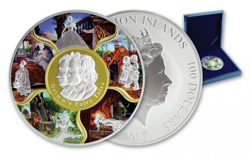 2017 Solomon Islands Kilo Silver 100 Dollar Fairy Tales BU