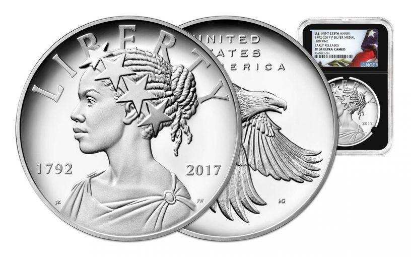 2017P 1oz Silver American Liberty Medal NGC PF69 UC ER FLAG BC