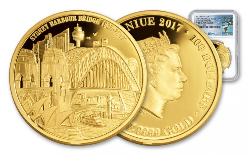 2017 Niue 1-oz Gold 85th Sydney Bridge Anniversary NGC PF70