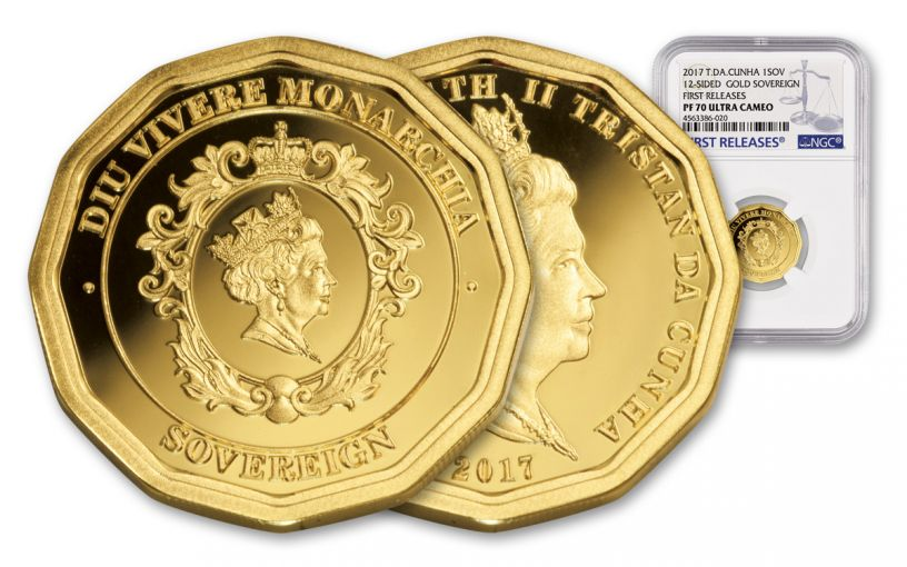 2017 Tristan Da Cunha 1/4-oz Gold Sovereign 12 Sided NGC PF70UC